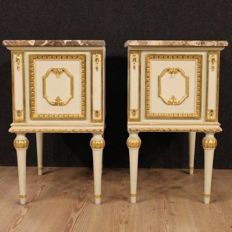 Beautiful Pair Of Italian Bedside Tables Of The Mid 20th Century. Furniture  In Nicely