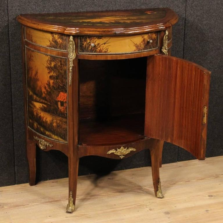 20th century french demilune sideboard decorated with for Meuble chippendale
