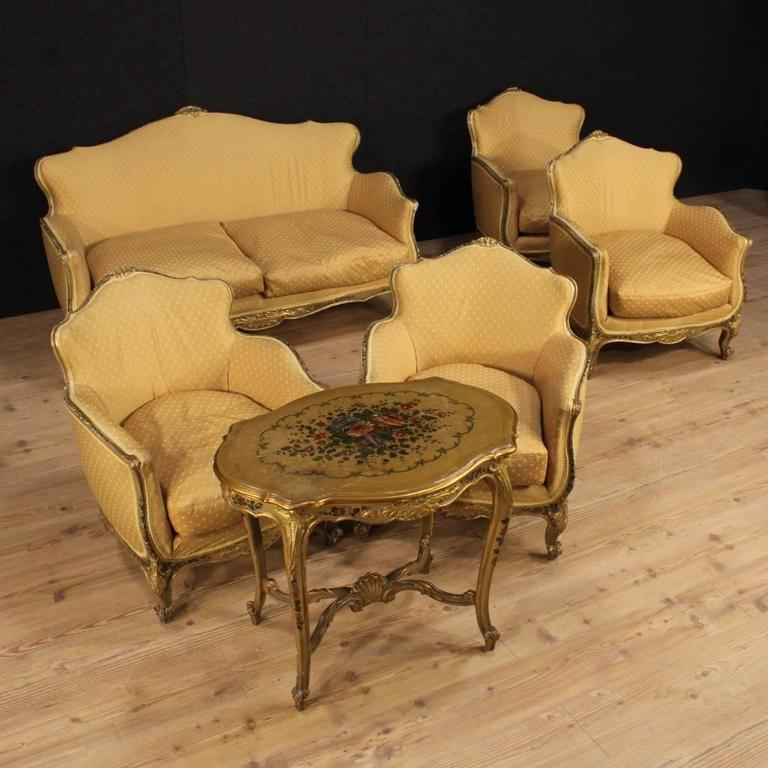 Venetian Coffee Table From The Mid 20th Century. Furniture In Ornately  Carved, Lacquered