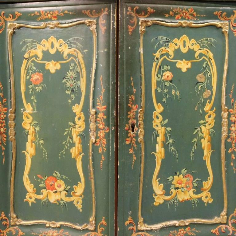 Italian 20th Century, Venetian Lacquered and Painted Sideboard For Sale