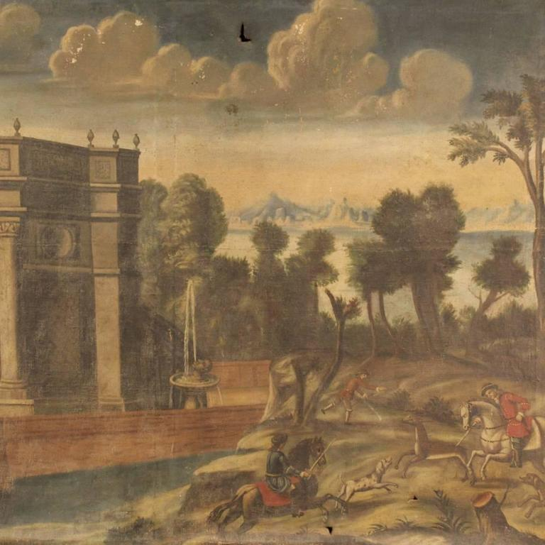 Painted 18th Century Italian Painting Landscape with Architecture For Sale