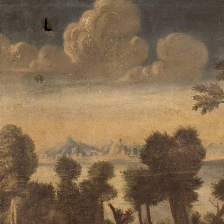 18th Century Italian Painting Landscape with Architecture In Fair Condition For Sale In Vicoforte, Piedmont