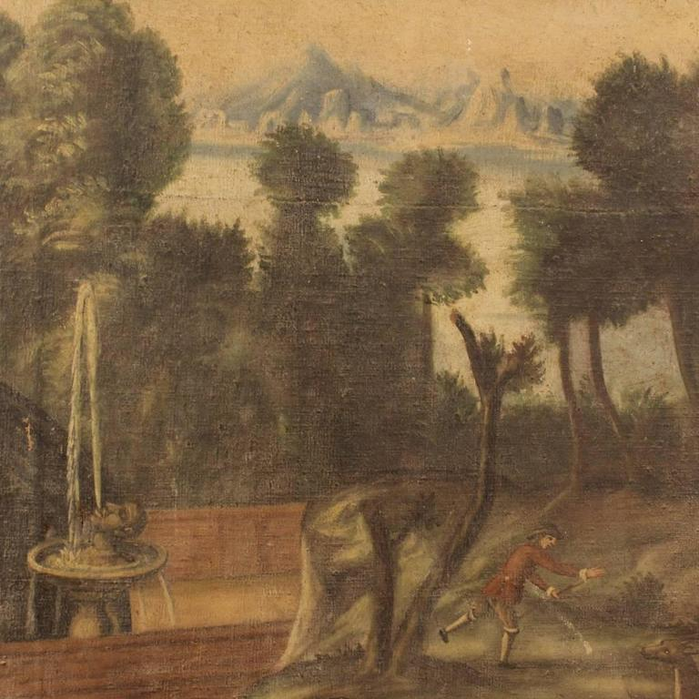 18th Century Italian Painting Landscape with Architecture For Sale 2