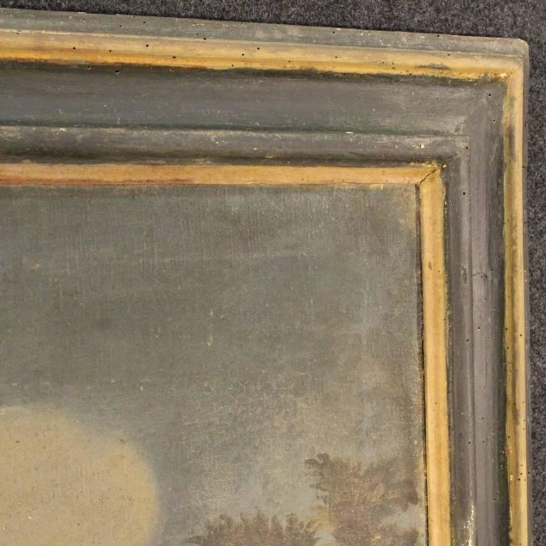 18th Century Italian Painting Landscape with Architecture For Sale 4