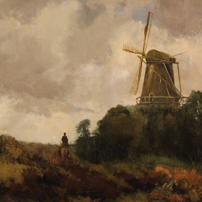 Dutch Landscape with Windmill Painting from 19th Century ... Dutch Windmill Painting
