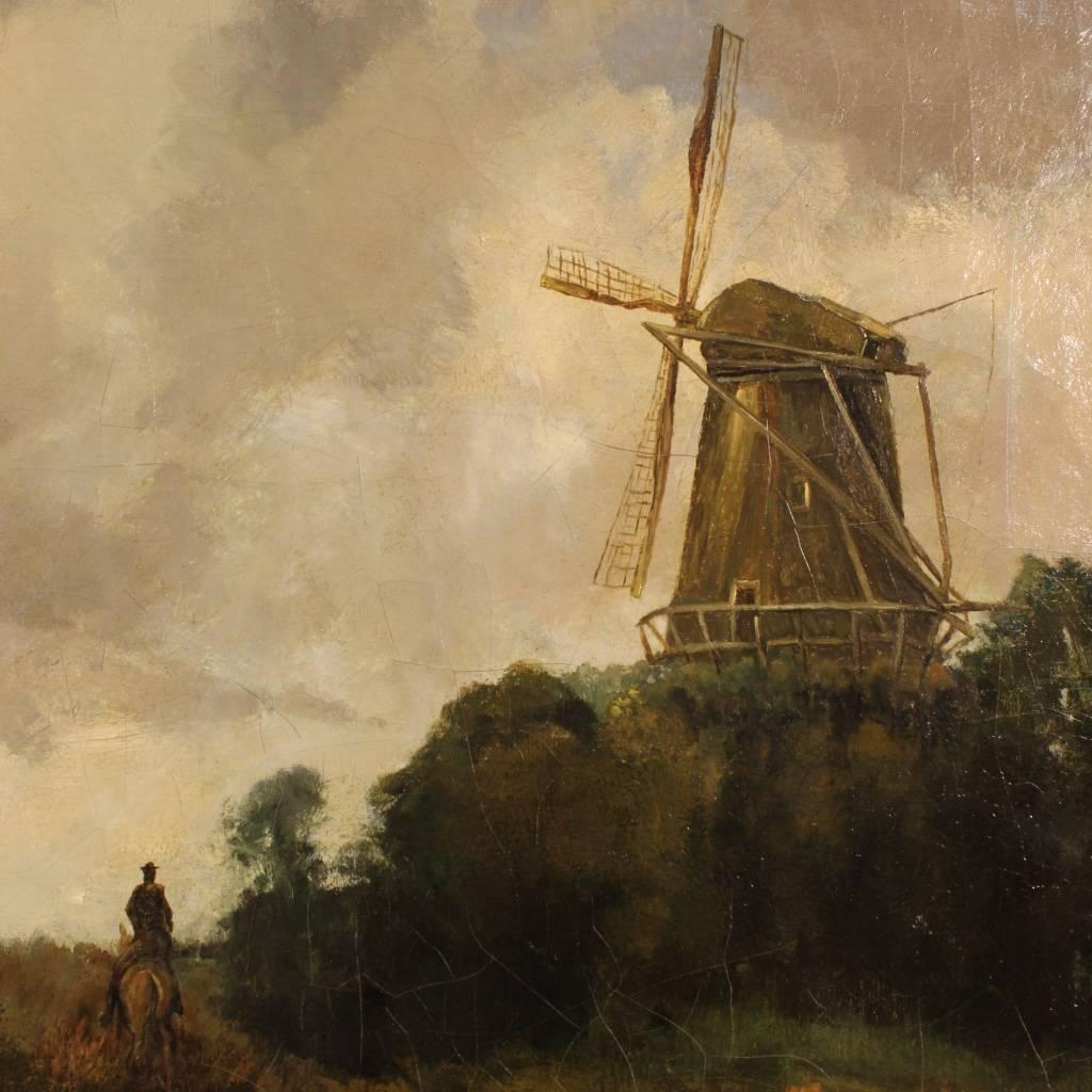 Dutch Landscape with Windmill Painting from 19th Century at 1stdibs