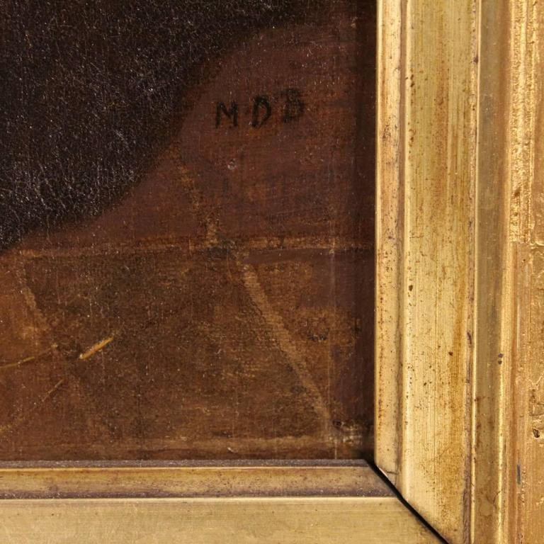 Antique Dutch painting of the second half of the 19th century. Painting oil on cardboard depicting pleasant interior scene of great painter's hand. Gold frame in wood and plaster, not coeval with some shortcomings and gilding drops. Framework signed