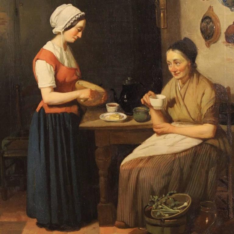 Gilt 19th Century Dutch Interior Scene Painting Oil On Cardboard For Sale