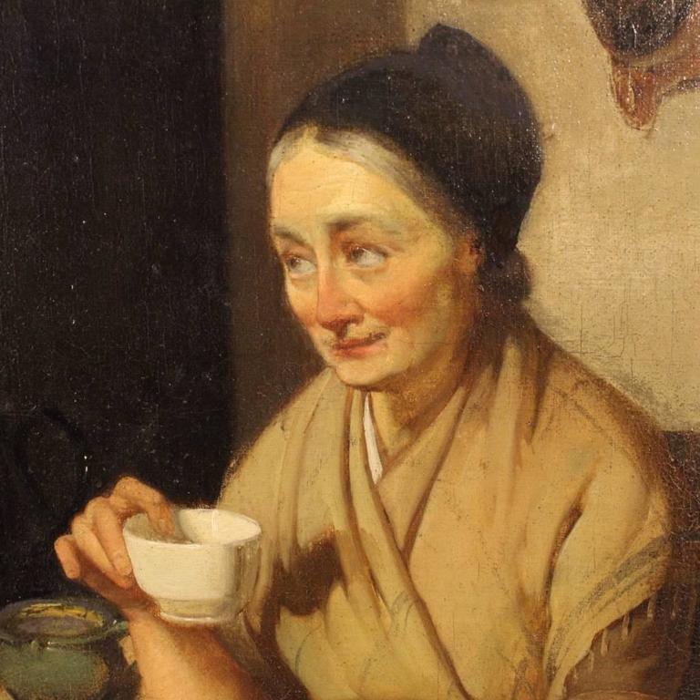 Plaster 19th Century Dutch Interior Scene Painting Oil On Cardboard For Sale