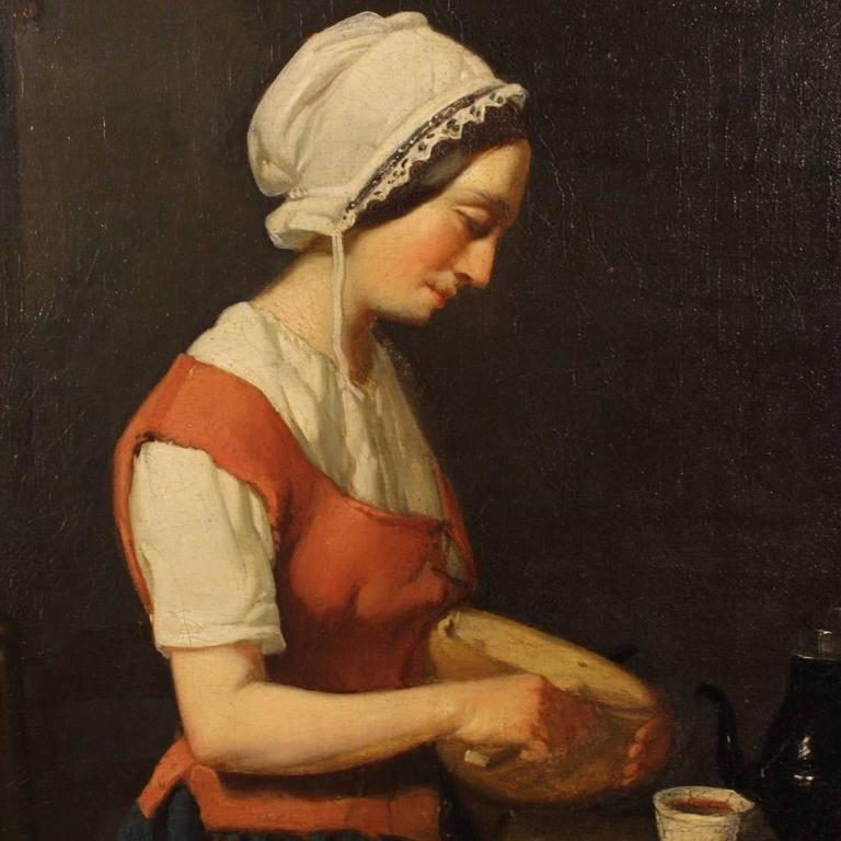 19th Century Dutch Interior Scene Painting Oil On Cardboard For Sale 1