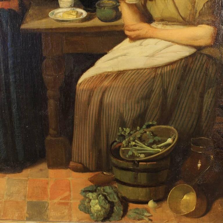 19th Century Dutch Interior Scene Painting Oil On Cardboard For Sale 2