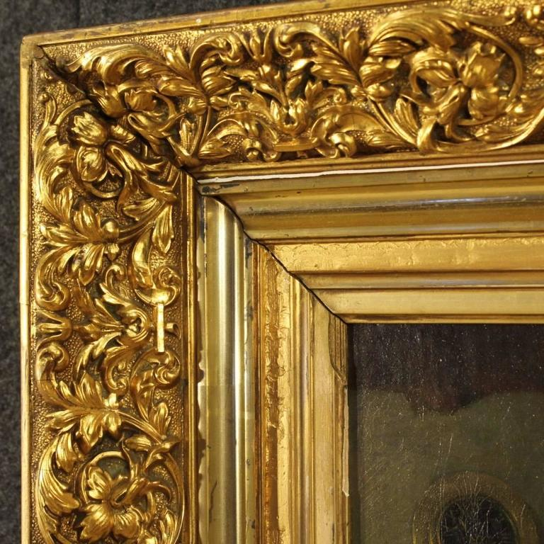 19th Century Dutch Interior Scene Painting Oil On Cardboard For Sale 3