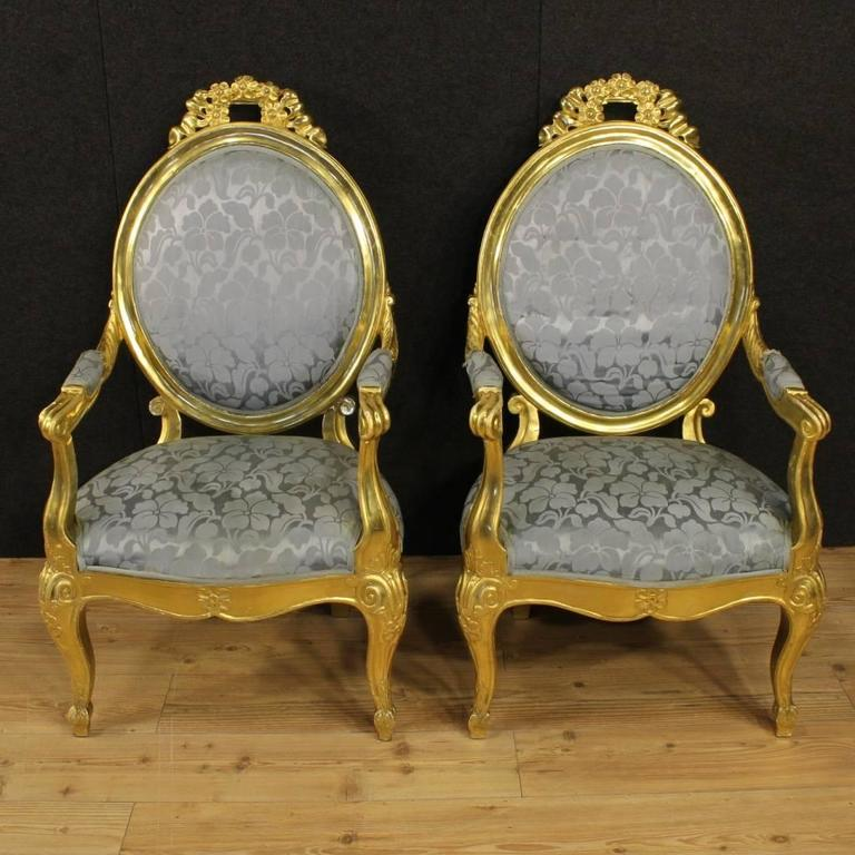 Gilt 20th Century Pair of Italian Golden Armchairs with Floral Fabric For Sale