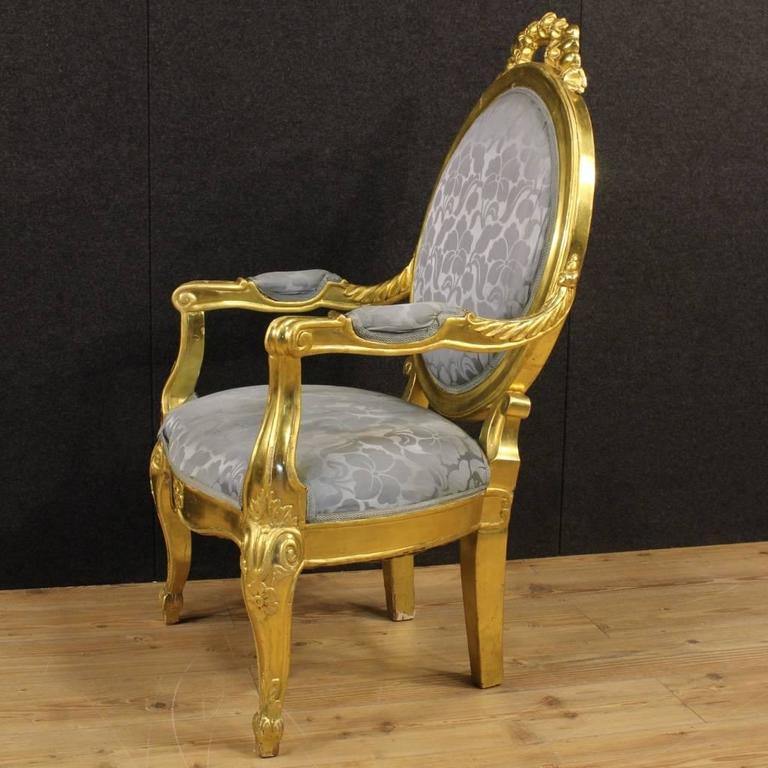20th Century Pair of Italian Golden Armchairs with Floral Fabric For Sale 3