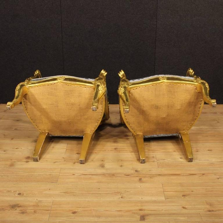 20th Century Pair of Italian Golden Armchairs with Floral Fabric For Sale 6