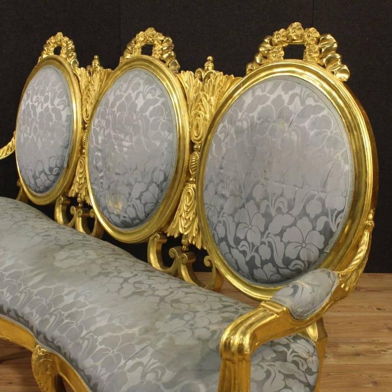 Gilt 20th Century Italian Golden Sofa