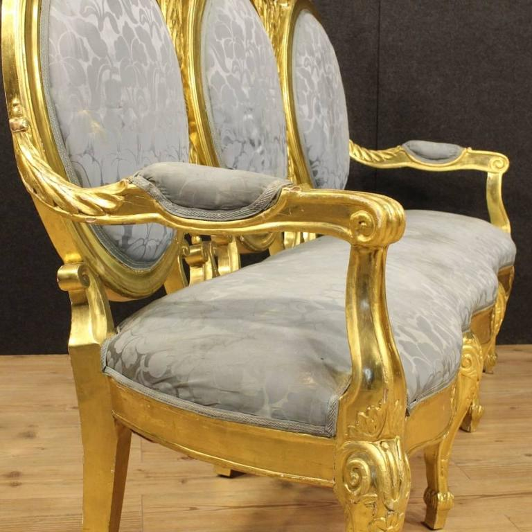 Wood 20th Century Italian Golden Sofa