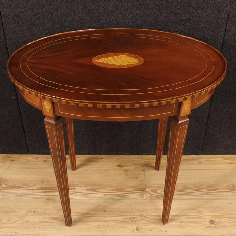 20th century english inlaid side table in mahogany at 1stdibs for Mahogany side tables living room