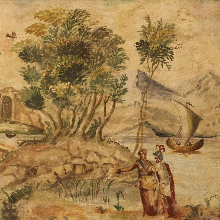 Italian Canvas Tent Veranda Decorated In Different Styles: 20th Century Italian Neoclassical Landscape Painting For