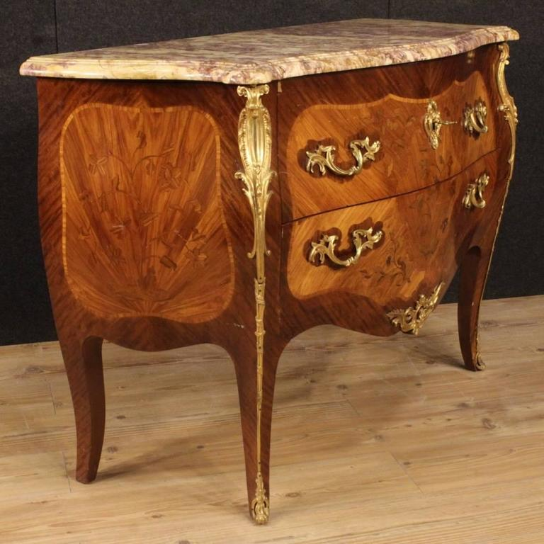 20th Century French Inlaid Dresser in Louis XV Style With Marble Top In Good Condition For Sale In Vicoforte, Piedmont