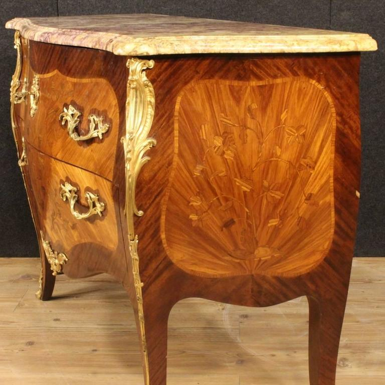 Bronze 20th Century French Inlaid Dresser in Louis XV Style With Marble Top For Sale