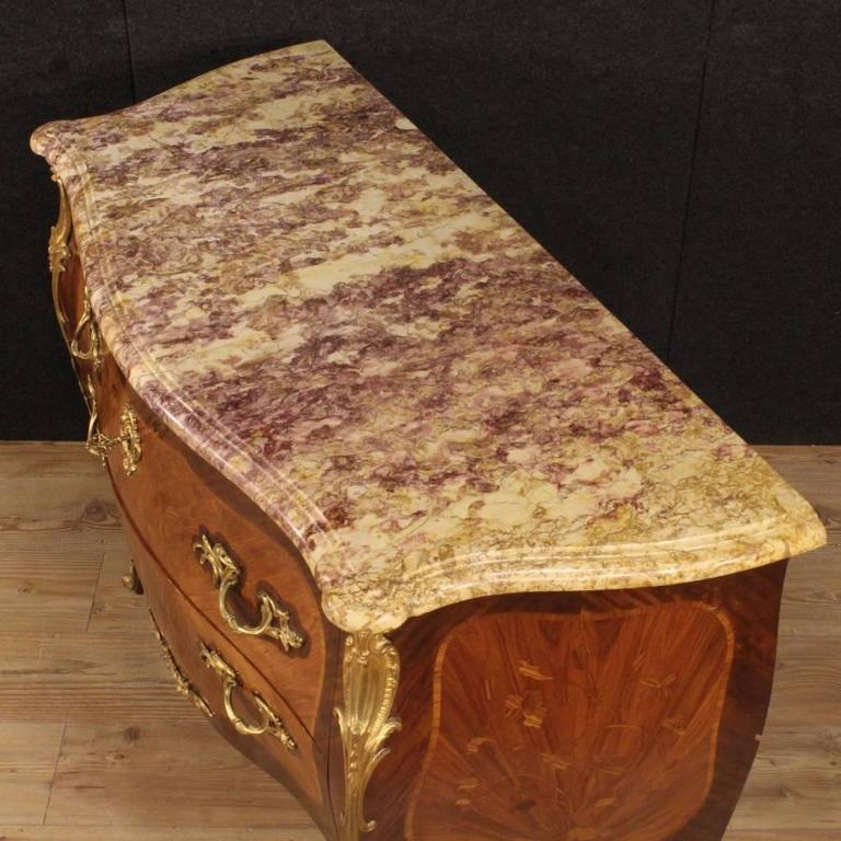 20th Century French Inlaid Dresser in Louis XV Style With Marble Top For Sale 1