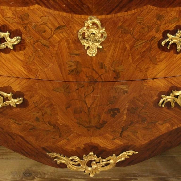 20th Century French Inlaid Dresser in Louis XV Style With Marble Top For Sale 3