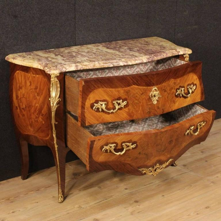 20th Century French Inlaid Dresser in Louis XV Style With Marble Top For Sale 4