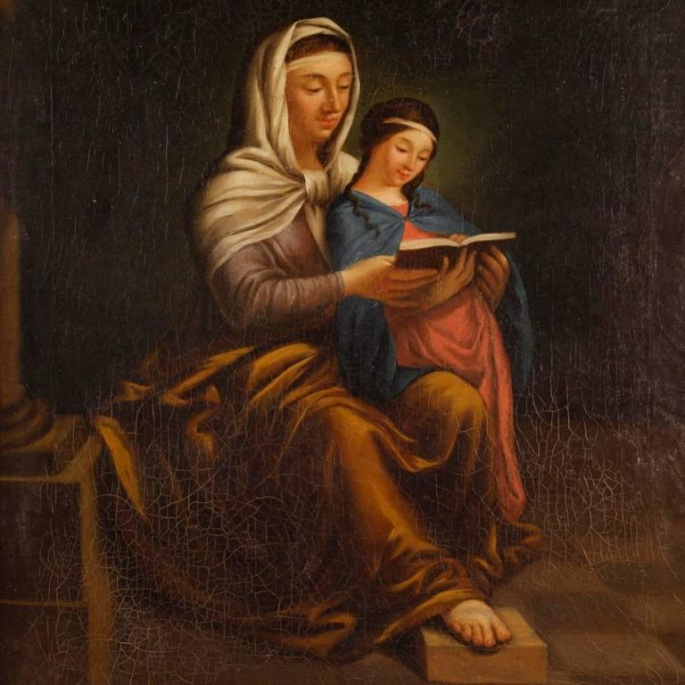 19th century religious painting saint anne with mary at. Black Bedroom Furniture Sets. Home Design Ideas