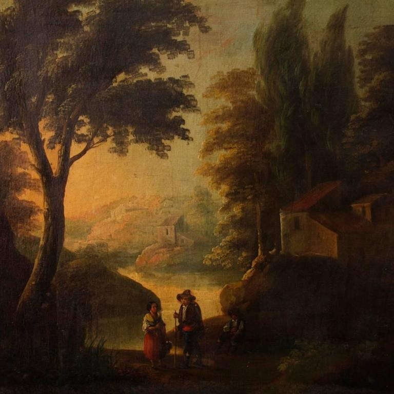 Spanish painting of the second half of the 19th century. Work oil on canvas depicting a pleasant woodland landscape with characters and architectures, of good pictorial hand. Painting of great measure with a frame of wood and plaster of the 20th