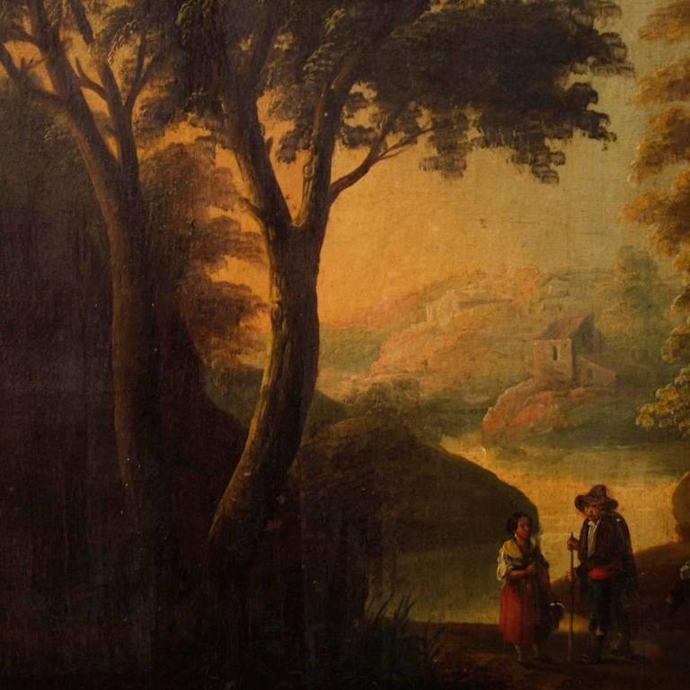 19th Century Spanish Landscape Painting Oil on Canvas In Good Condition For Sale In Vicoforte, Piedmont