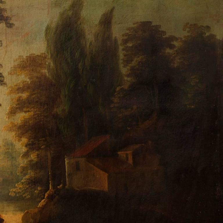 19th Century Spanish Landscape Painting Oil on Canvas For Sale 1
