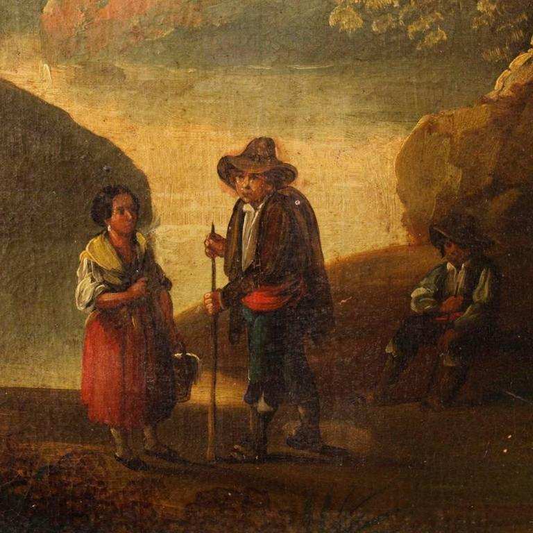 19th Century Spanish Landscape Painting Oil on Canvas For Sale 2