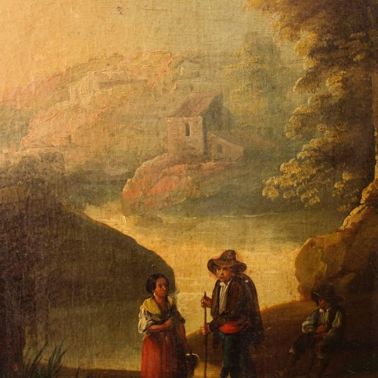 19th Century Spanish Landscape Painting Oil on Canvas For Sale 4
