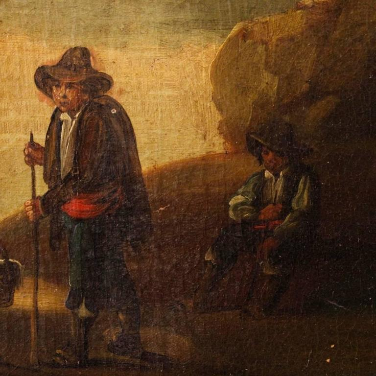 19th Century Spanish Landscape Painting Oil on Canvas For Sale 5