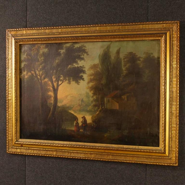 19th Century Spanish Landscape Painting Oil on Canvas For Sale 6