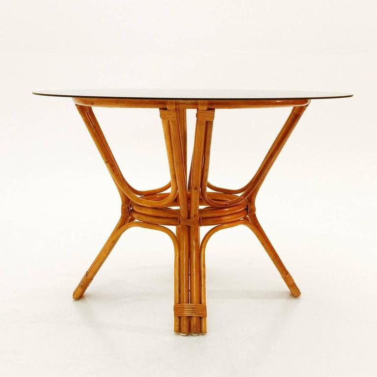 Italian Vintage Bamboo Table With Glass Top, 1970s 3