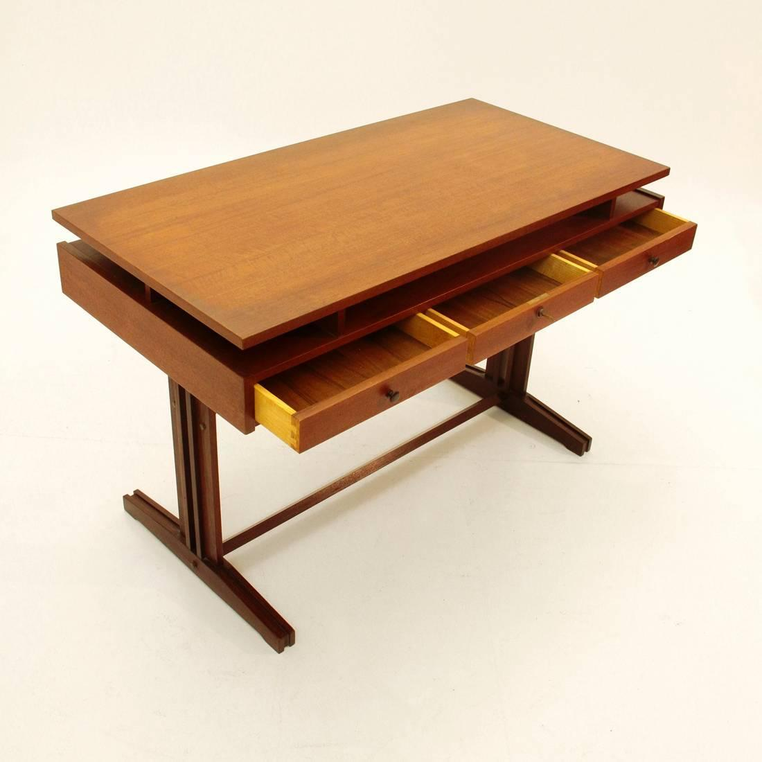 Italian Teak Desk With Two Chairs 1960s At 1stdibs