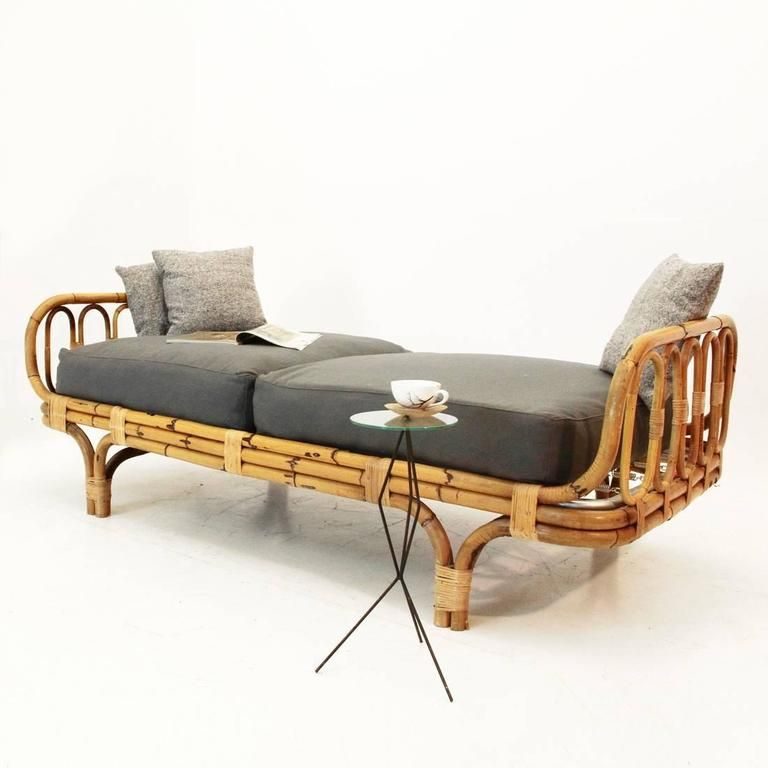 Vintage Italian Mid Century Wicker Daybed 1960s At 1stdibs