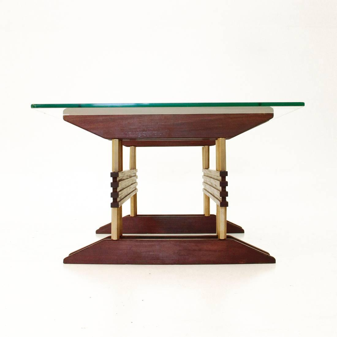Italian Glass Brass And Wood Coffee Table 1950s At 1stdibs