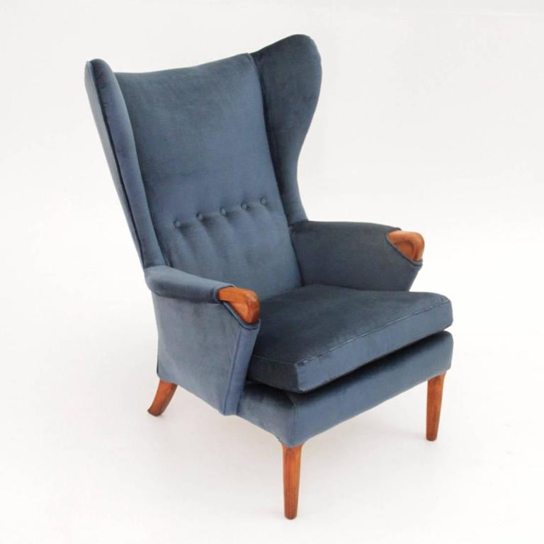 Mid Century Modern Vintage Velvet Wingback Chair From Parker Knoll 1960s For