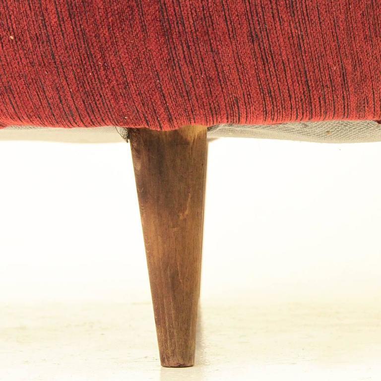 Red Velvet Armchair, 1950s at 1stdibs