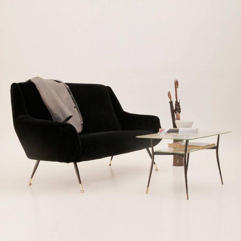 Italian Black Velvet Sofa 1950s at 1stdibs