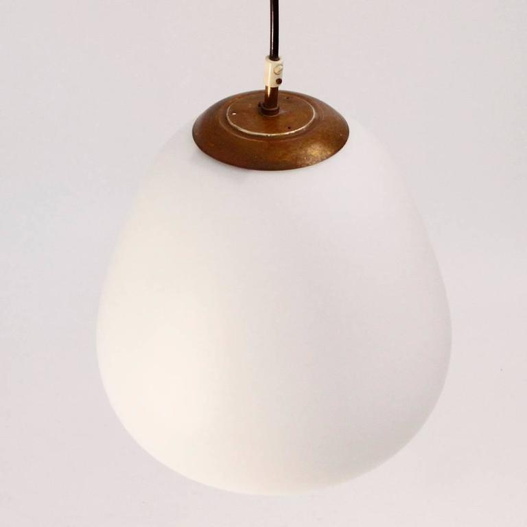 Mid-Century Modern Set of two 1950s Italian Pendant Lamps with Opaline Glass For Sale