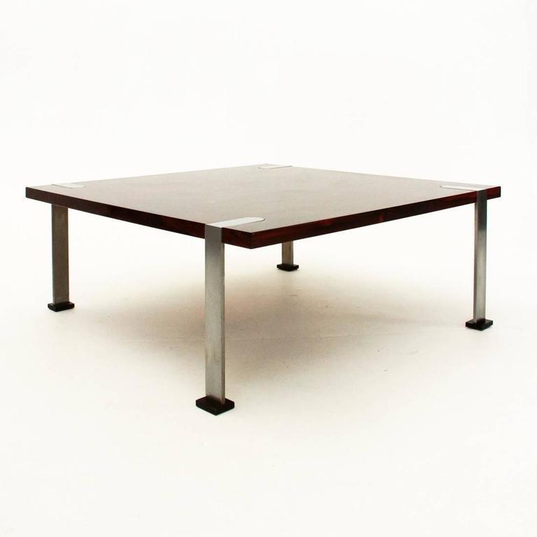 Coffee Table Square Legs: Italian Square Coffee Table With Aluminium Legs For Sale