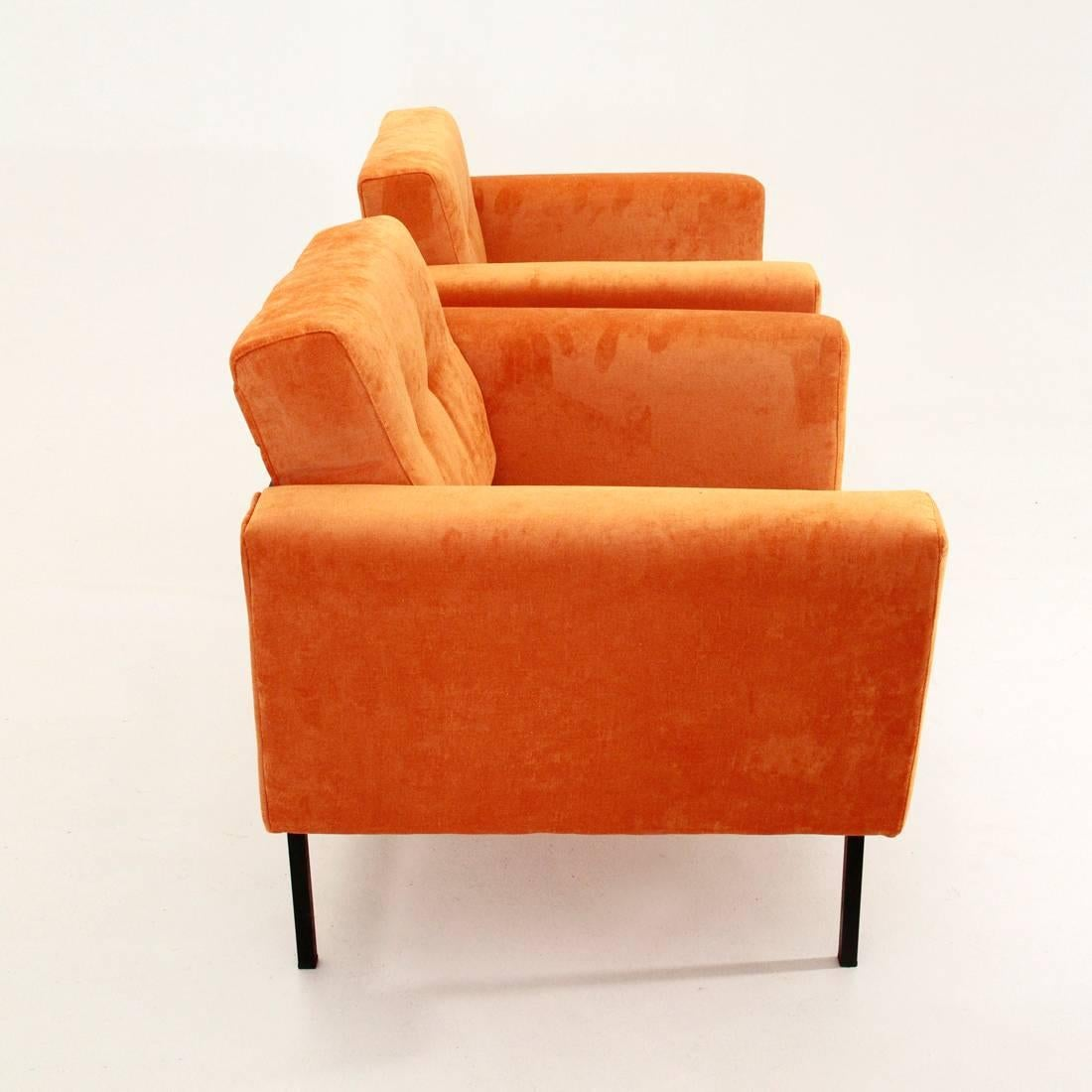 Mid Century Modern Two Italian Orange Velvet Armchair For Sale