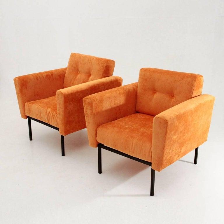 Two Italian Orange Velvet Armchair For Sale at 1stdibs