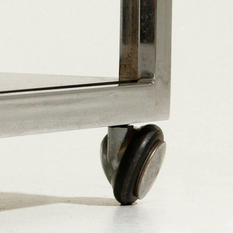 Chromed Side Table with Wells For Sale 1