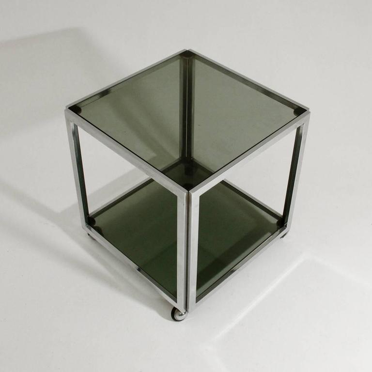 Mid-Century Modern Chromed Side Table with Wells For Sale