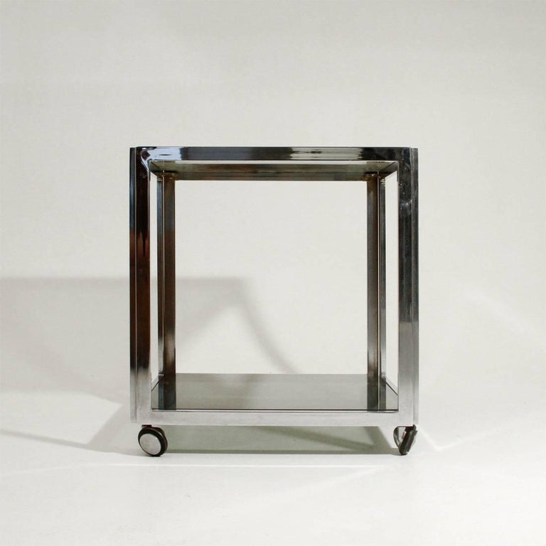 Italian Chromed Side Table with Wells For Sale